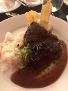 Entree: Beef Tenderloin, Bordeaux Wine Sauce, Plantain Flan, Cilantro, Lemon Jasmine Rice